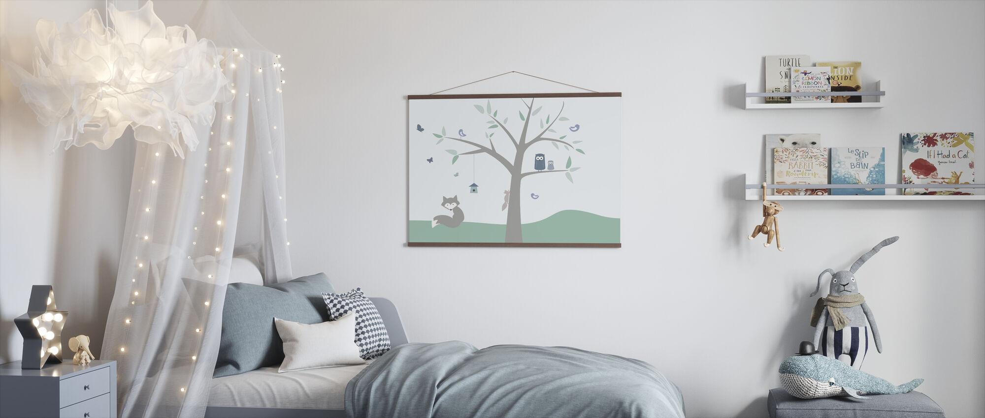 Dierenboom - groen - Poster - Kinderkamer