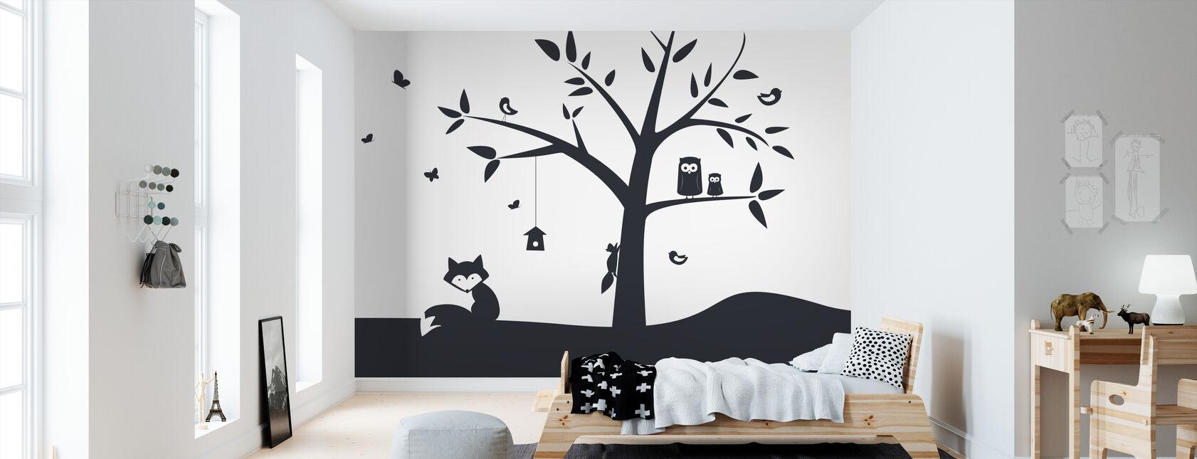 Animal Tree- Black - Wallpaper - Kids Room