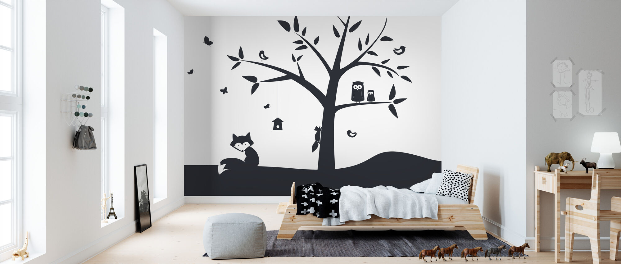 Animal Tree- Black - Wallpaper - Kids Room