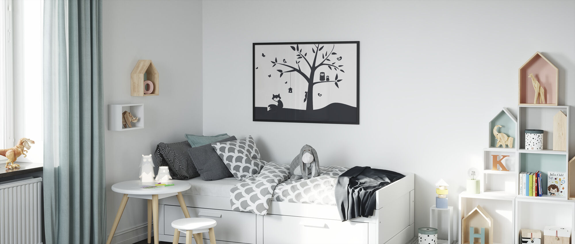 Animal Tree- Black - Framed print - Kids Room