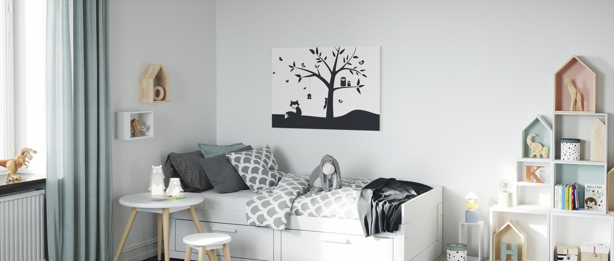 Animal Tree- Black - Canvas print - Kids Room