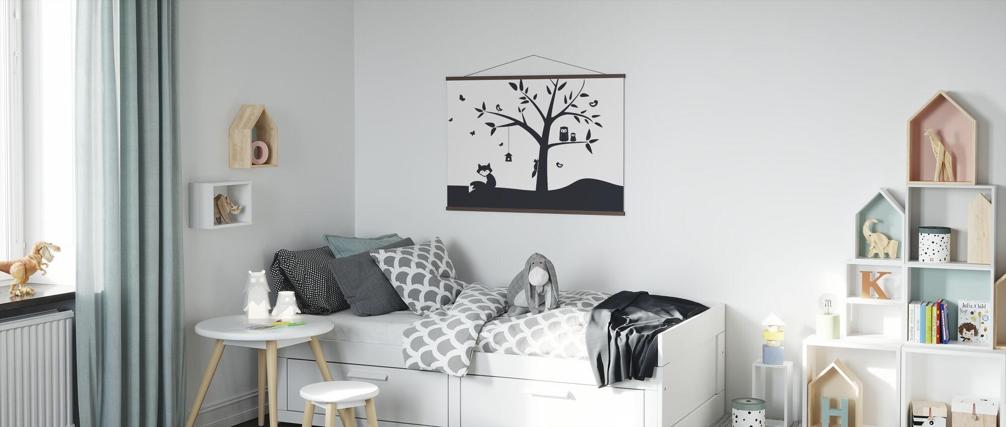 Animal Tree- Black - Poster - Kids Room
