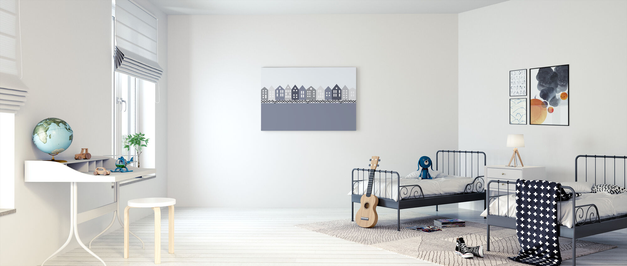 Bryggen - Blue - Canvas print - Kids Room