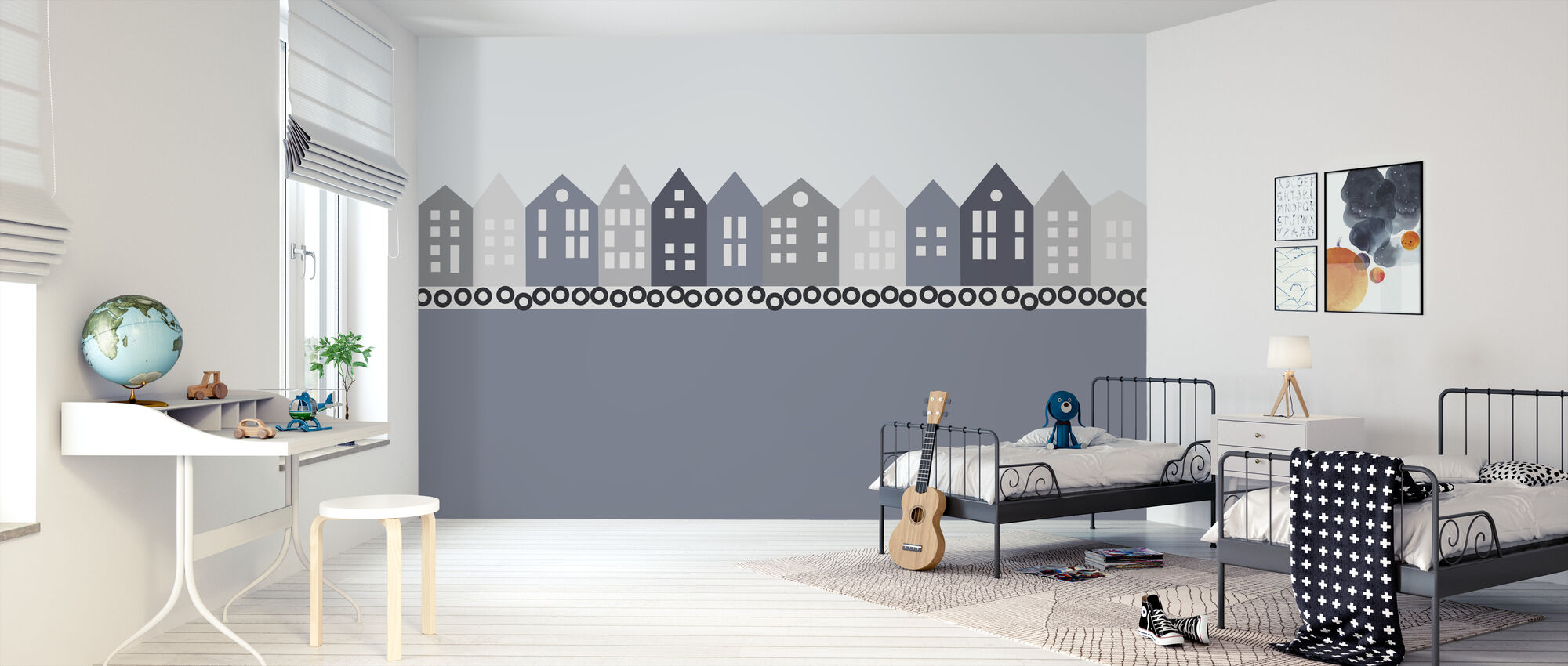 Bryggen - Blue - Wallpaper - Kids Room