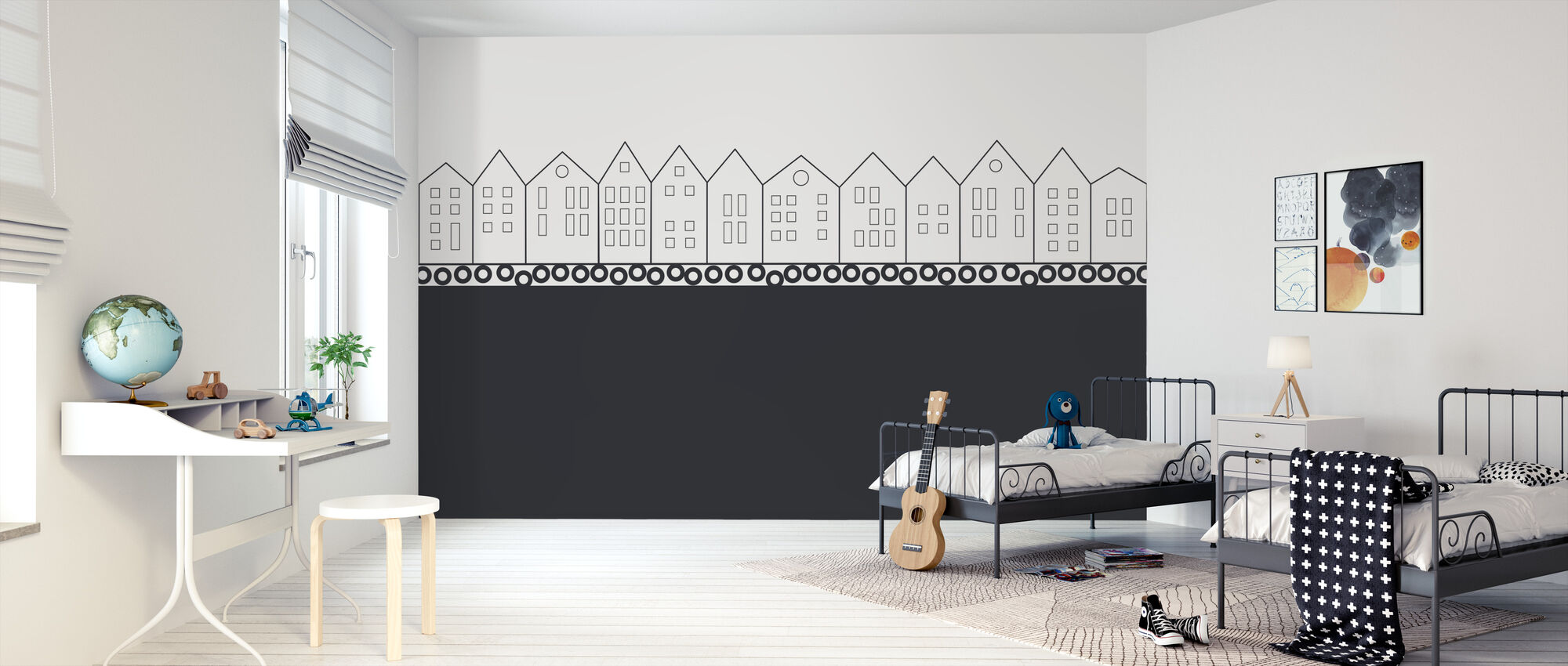 Bryggen Black - Wallpaper - Kids Room
