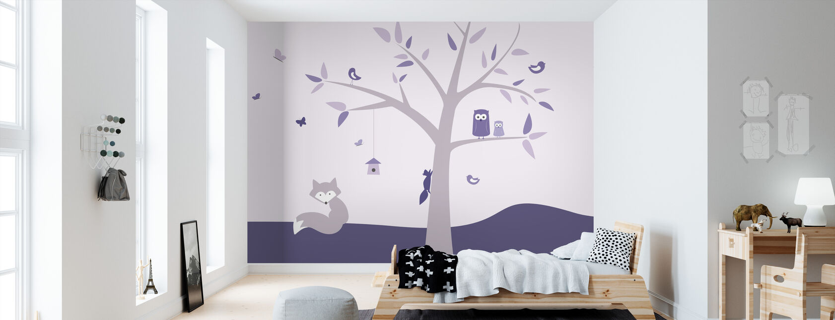 Animal Tree - Purple - Wallpaper - Kids Room