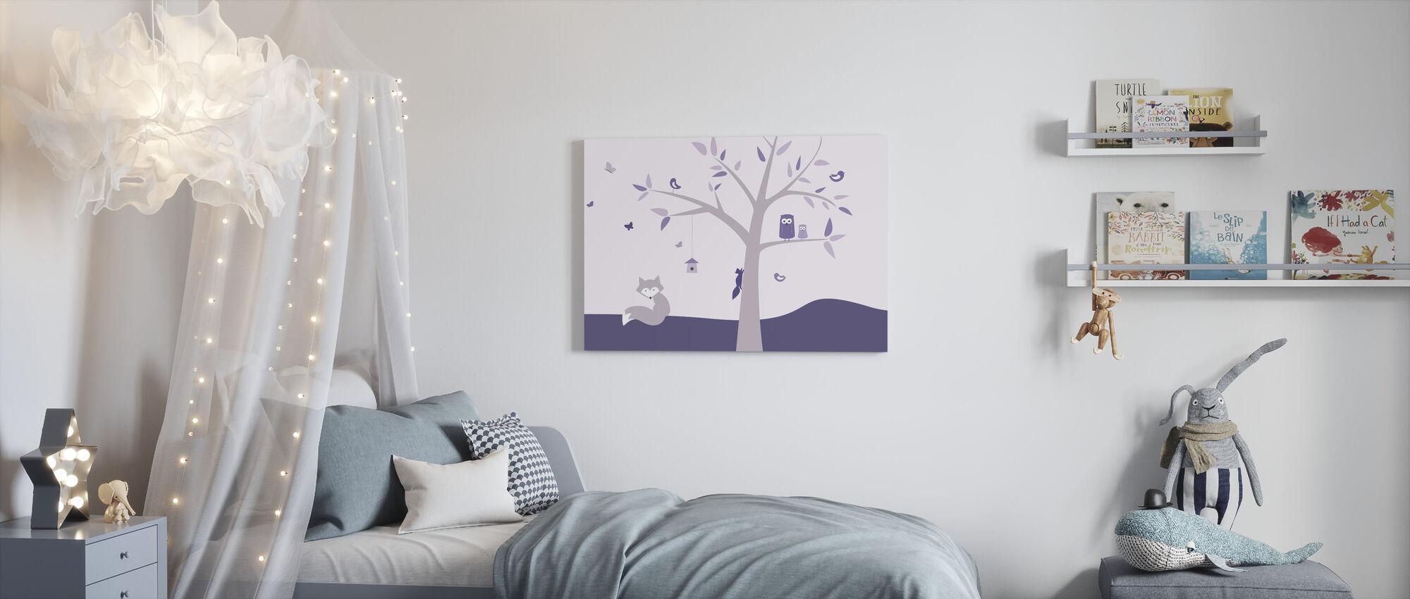Dierenboom - Paarse - Canvas print - Kinderkamer