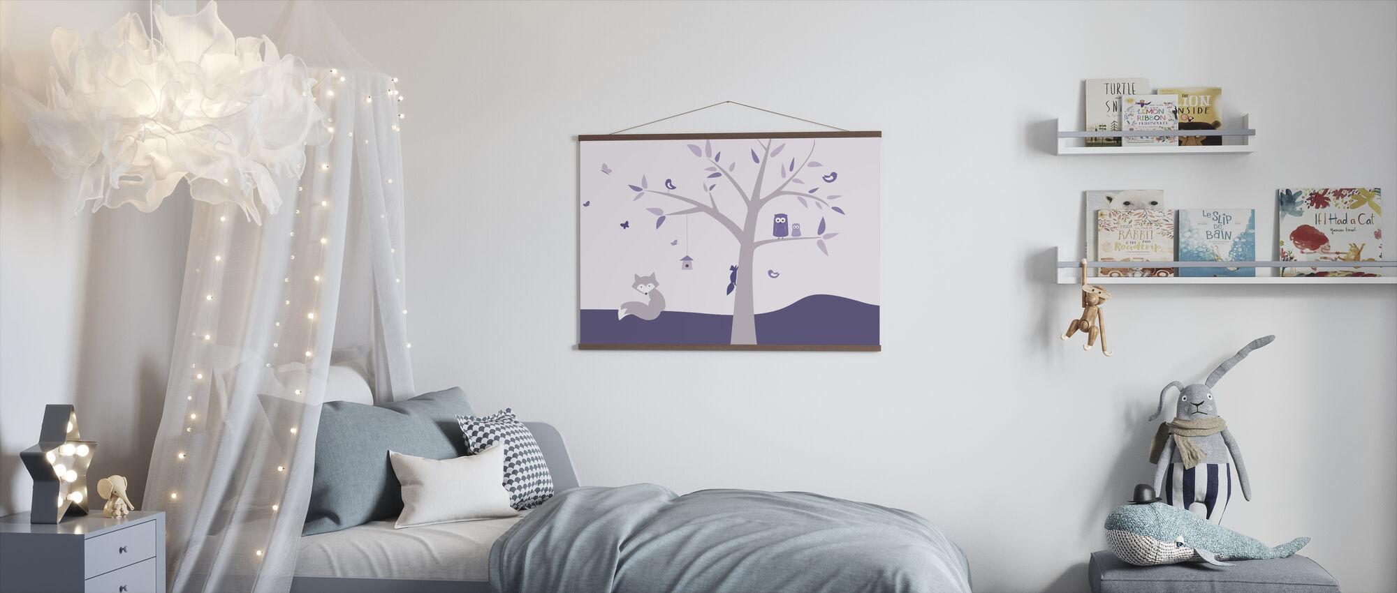 Dierenboom - Paarse - Poster - Kinderkamer
