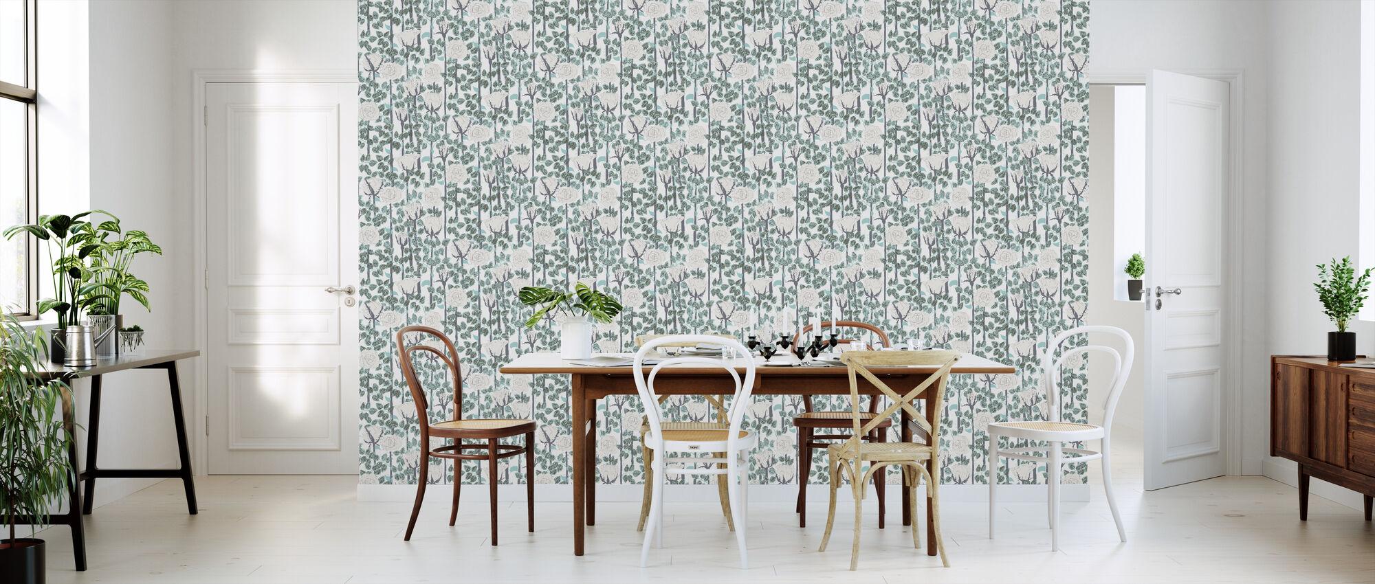 Rose - White - Wallpaper - Kitchen