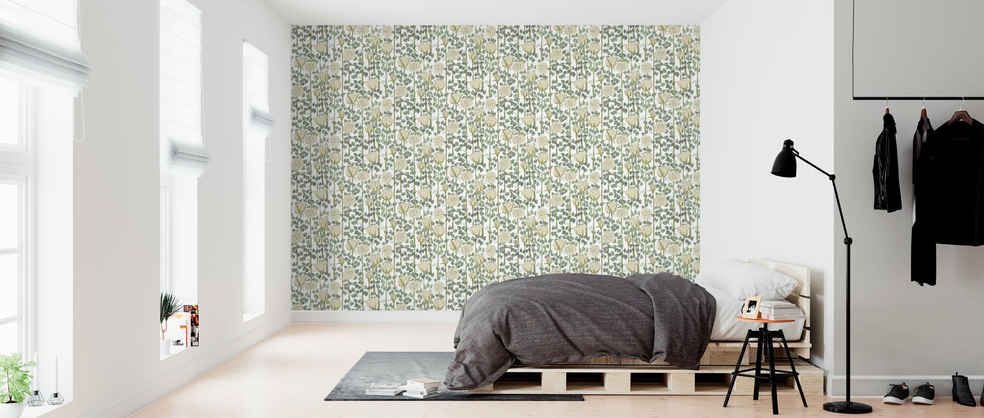 Rose - Beige - Wallpaper - Bedroom