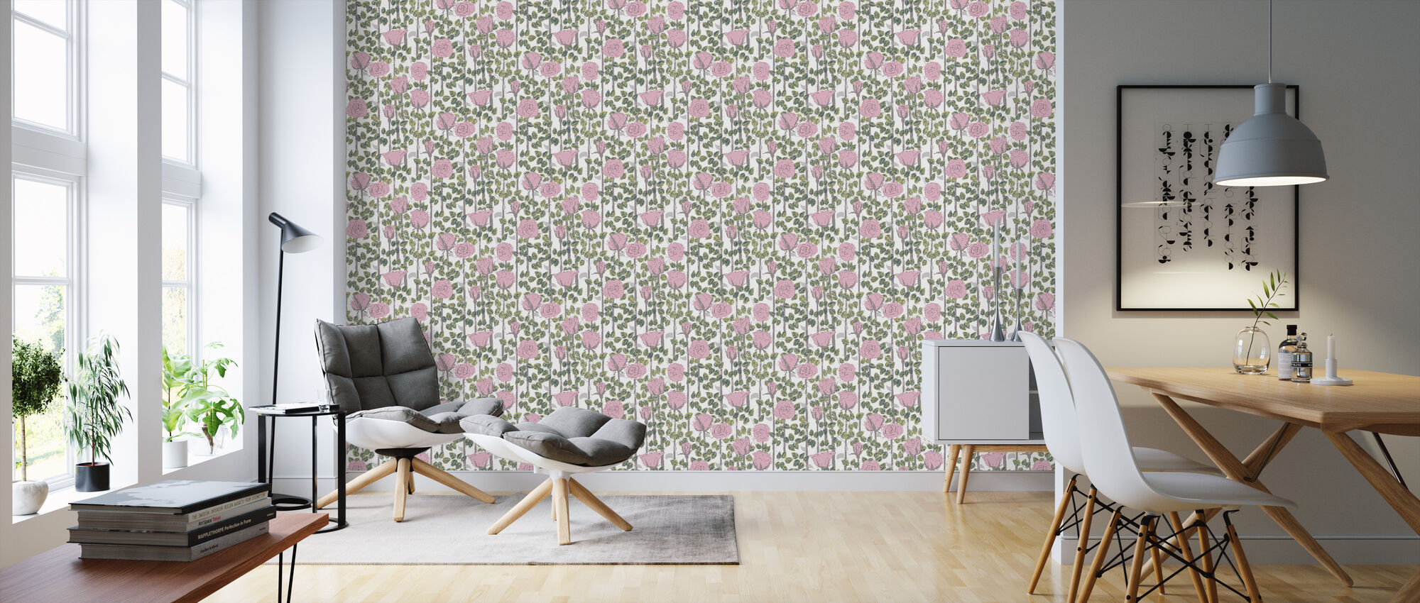 Rose - Pink - Wallpaper - Living Room