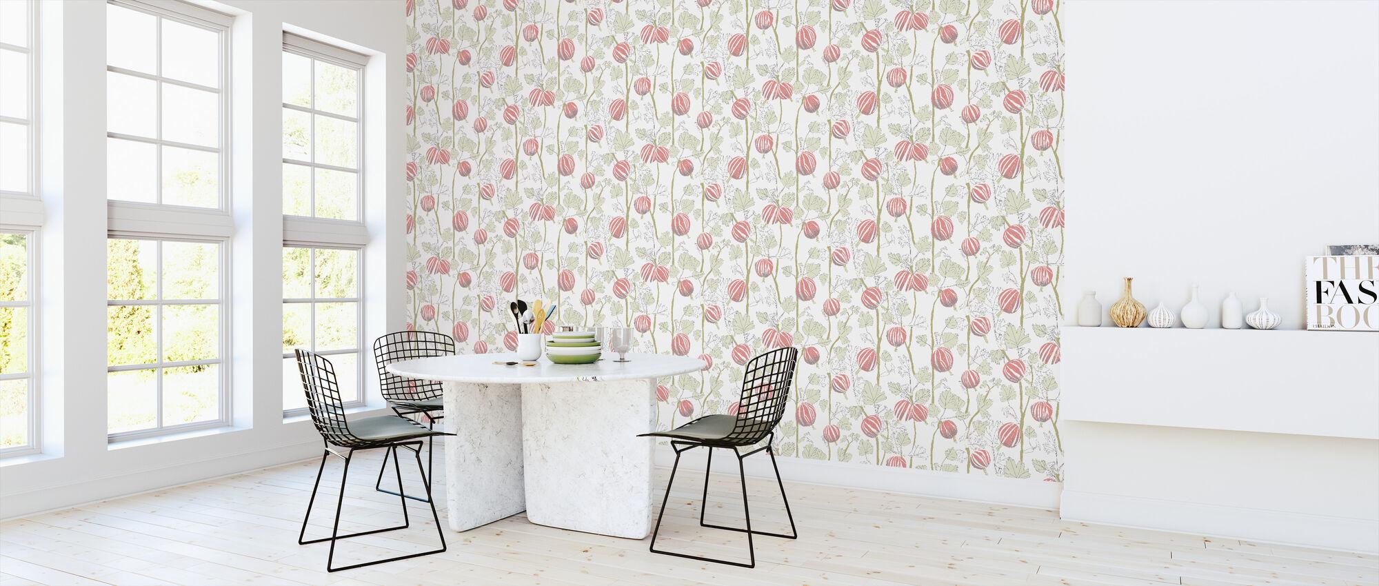 In the Garden - Red - Wallpaper - Kitchen