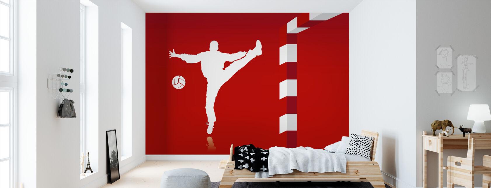 Handball - Red - Wallpaper - Kids Room