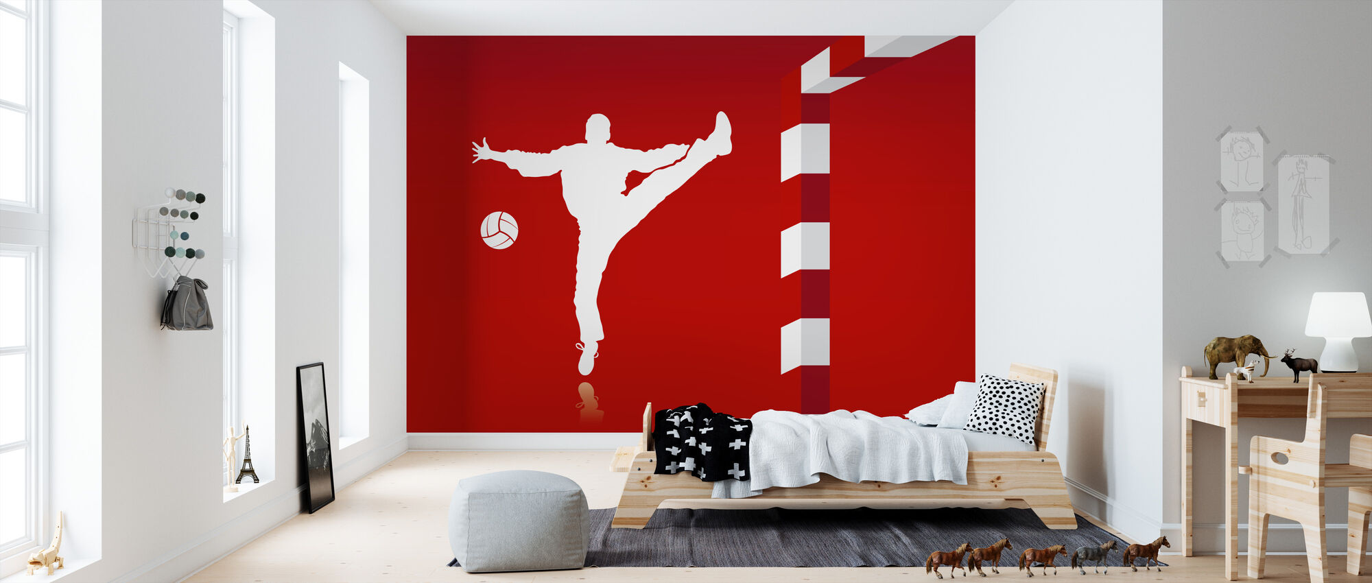 Handbal - Rood - Behang - Kinderkamer