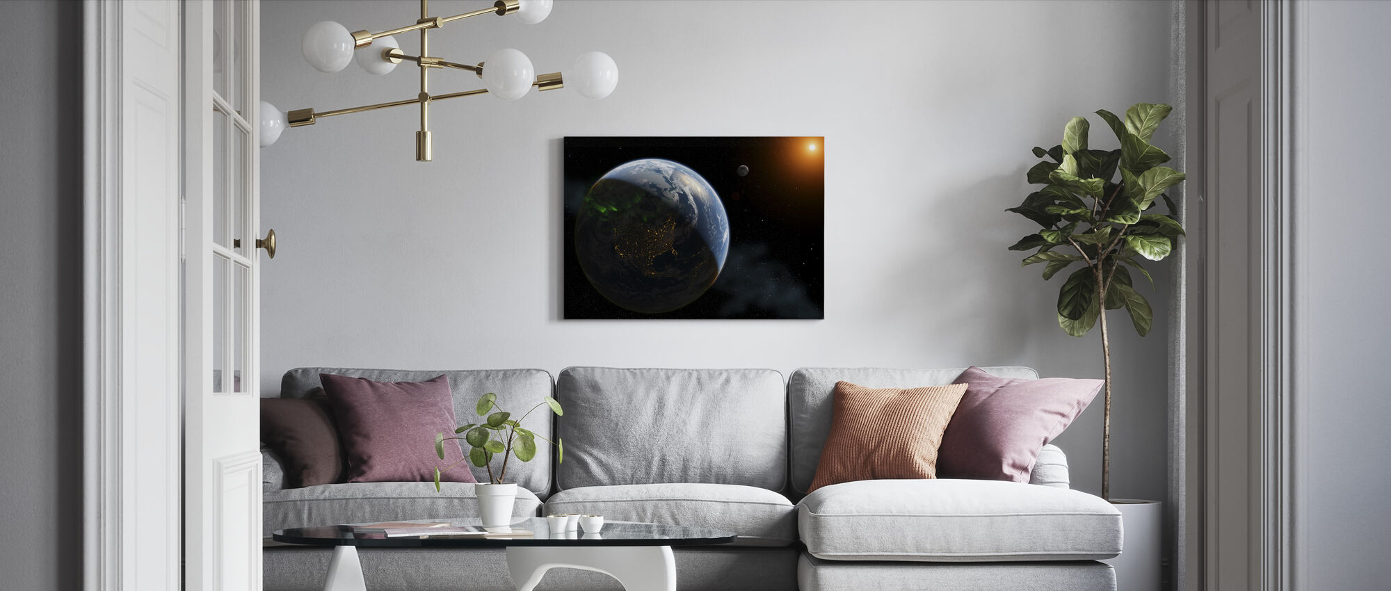Lights on Earth - Canvas print - Living Room