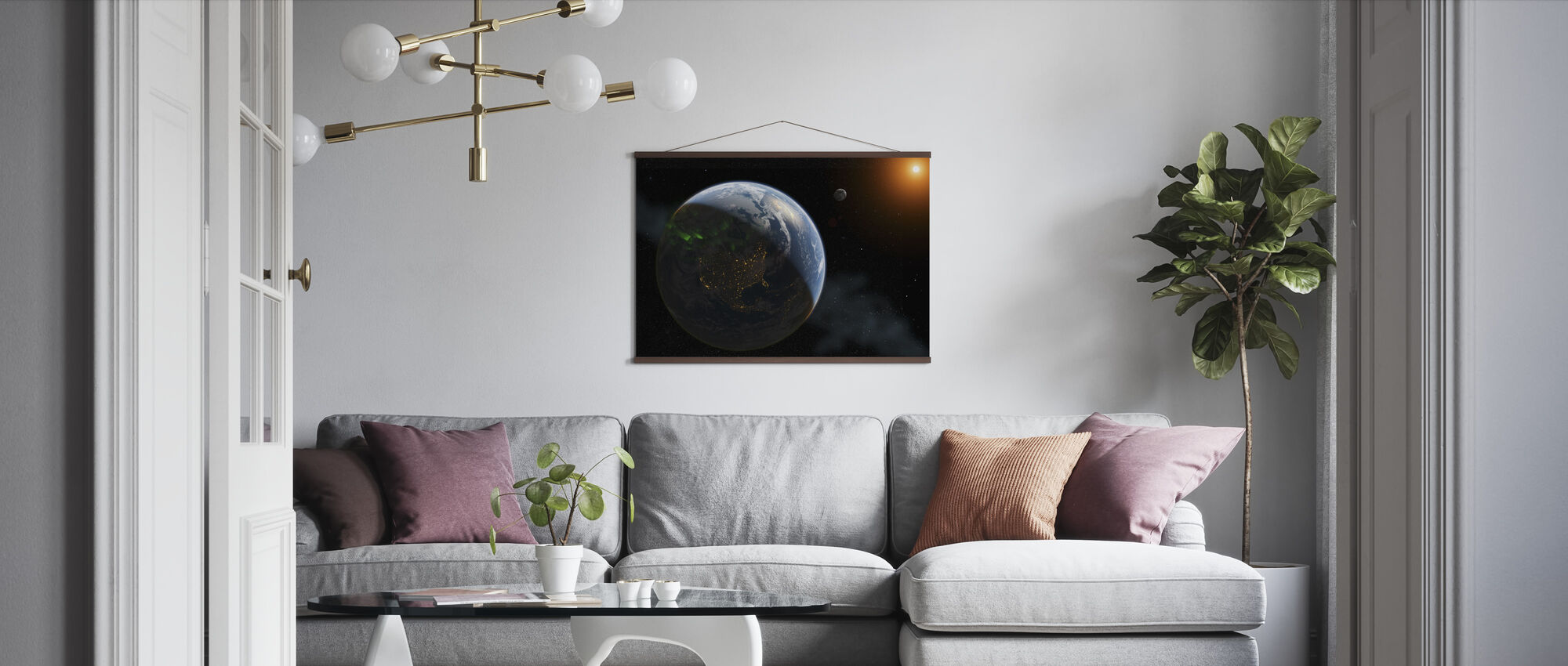 Lights on Earth - Poster - Living Room