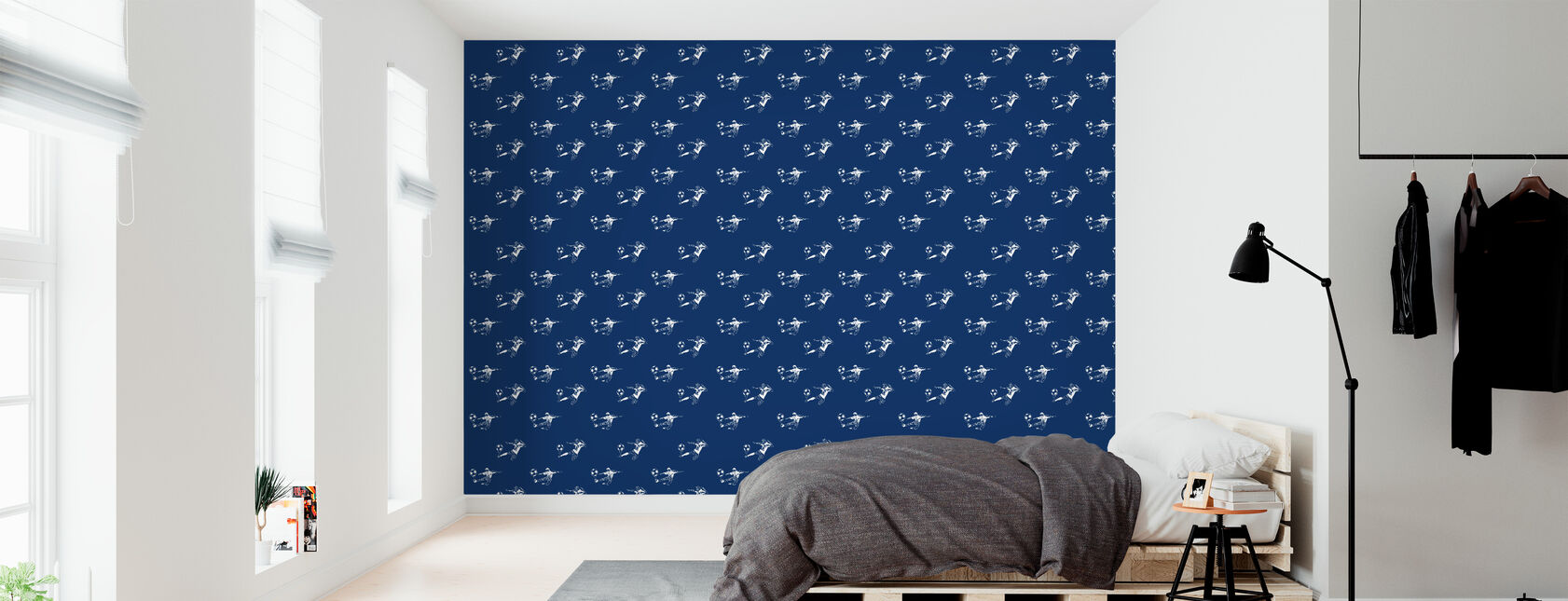 Kick It - Donkerblauw patroon - Behang - Slaapkamer