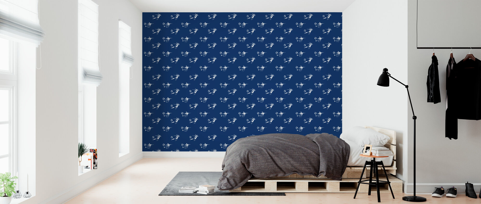 Kick It - Dark Blue Pattern - Wallpaper - Bedroom