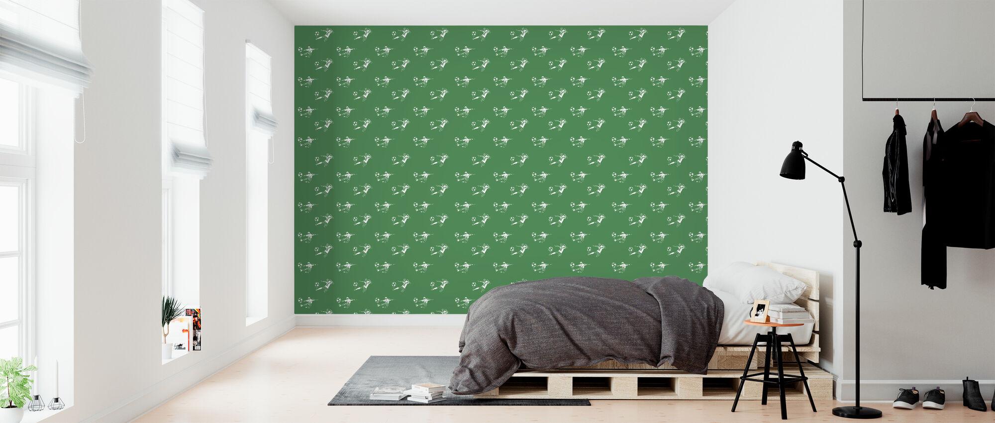 Kick It - vihreä kuvio - Tapetti - Makuuhuone