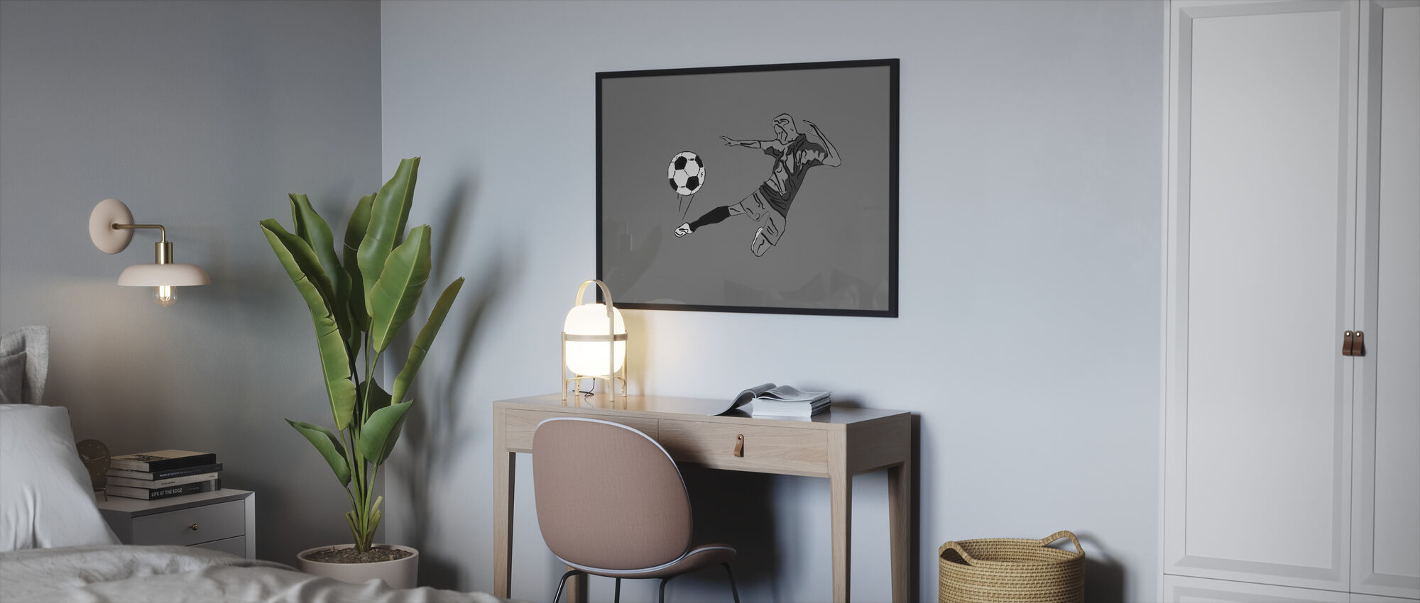 Kick It - Grey - Framed print - Bedroom