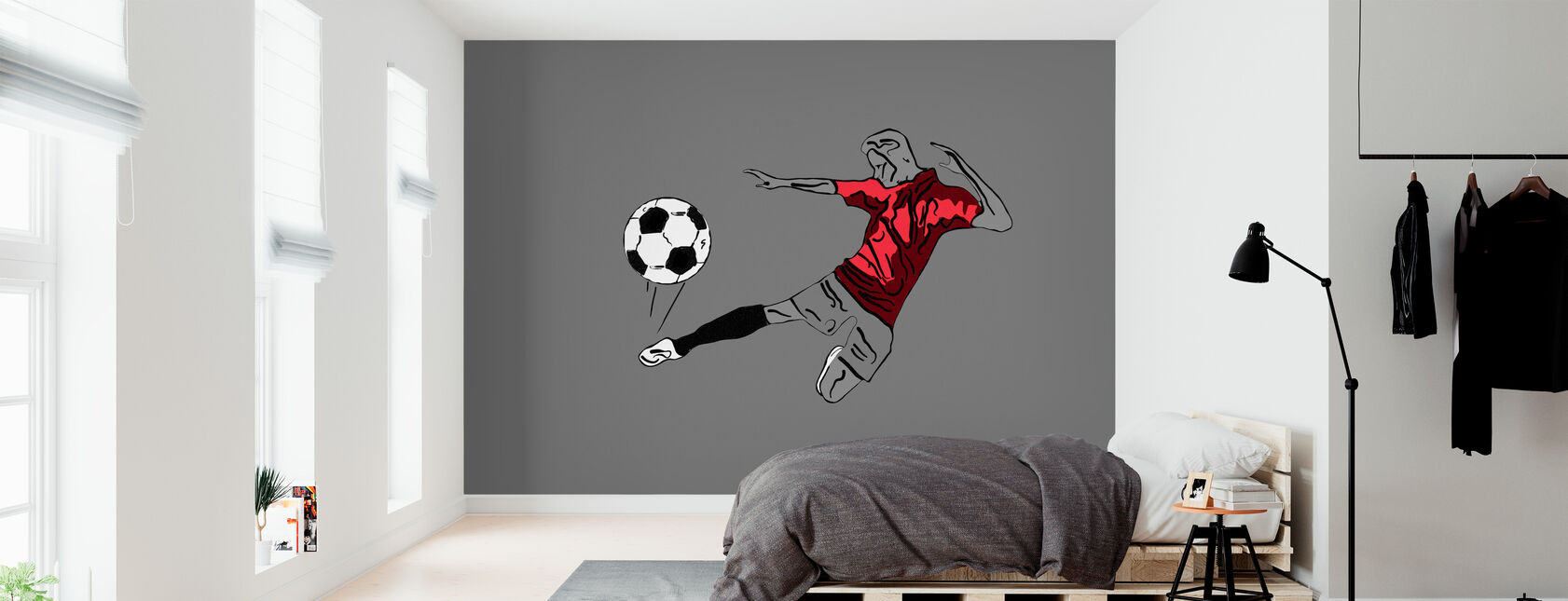Kick It - Red Grey - Wallpaper - Bedroom