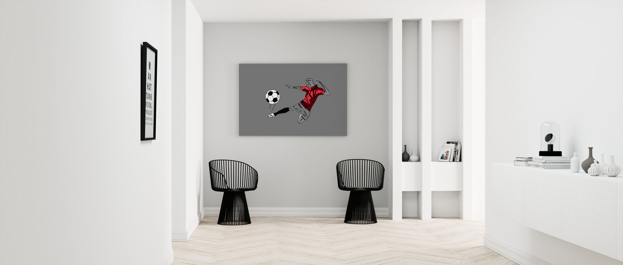 Kick It - Red Grey - Canvas print - Hallway