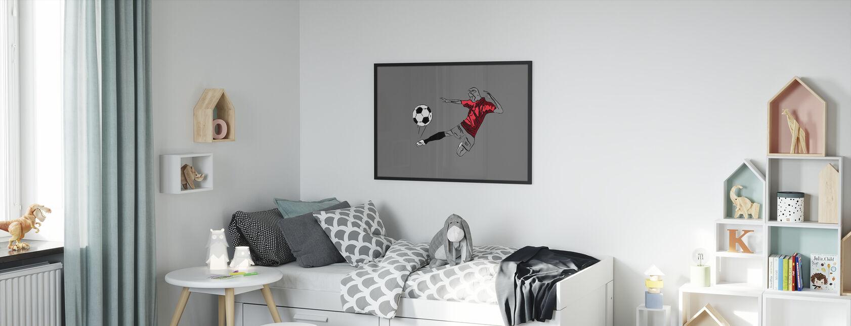 Kick It - Red Grey - Framed print - Kids Room
