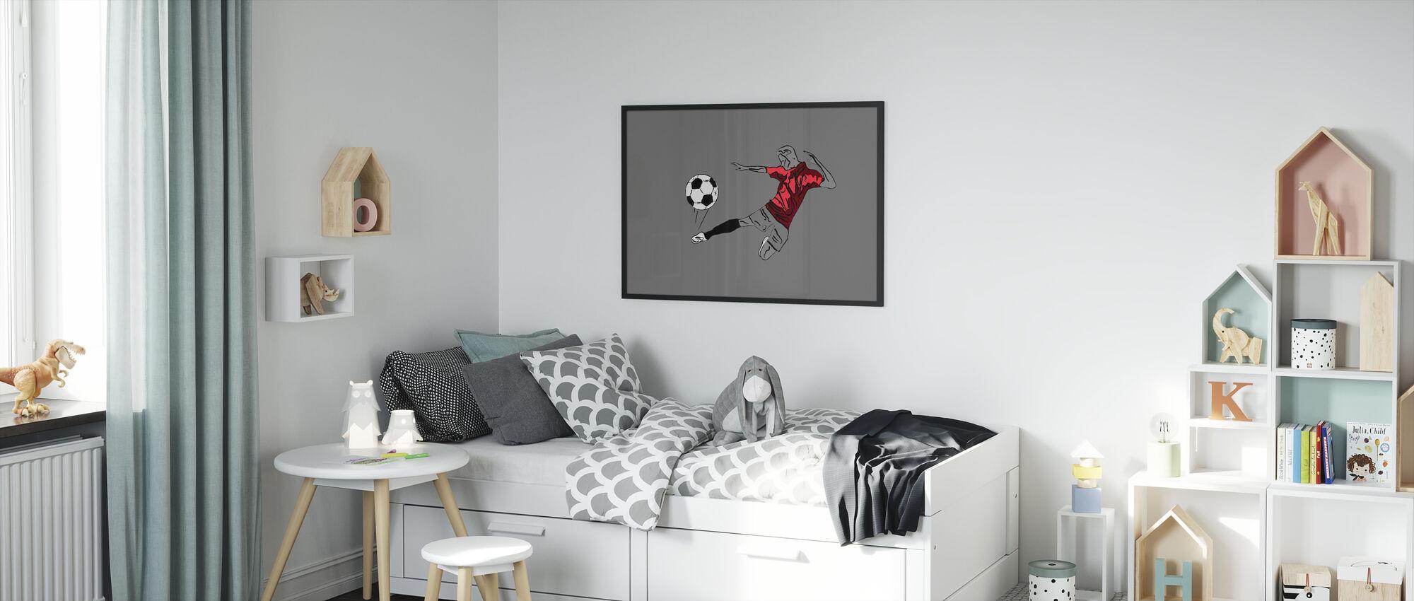 Kick It - Rood Grijs - Ingelijste print - Kinderkamer