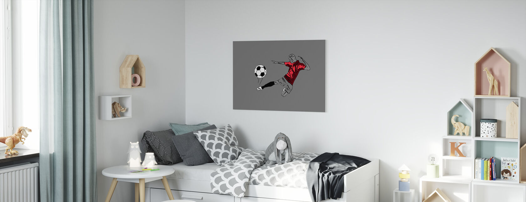 Kick It - Rood Grijs - Canvas print - Kinderkamer