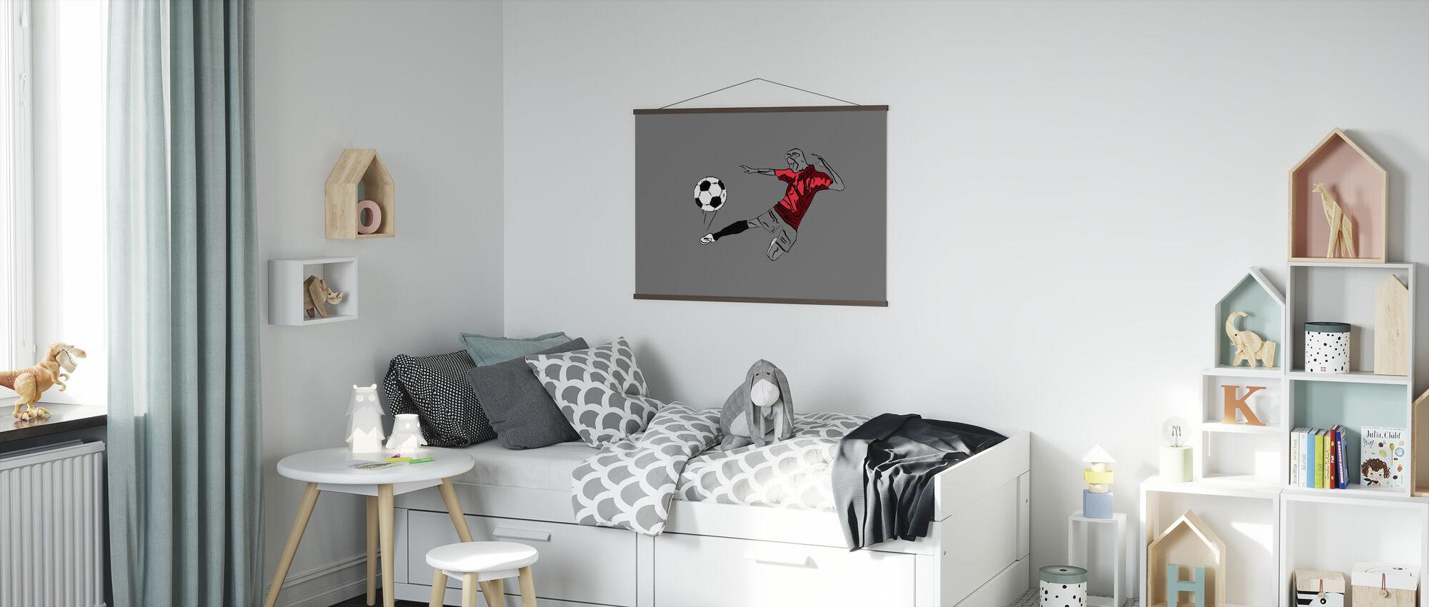 Kick It - Rood Grijs - Poster - Kinderkamer