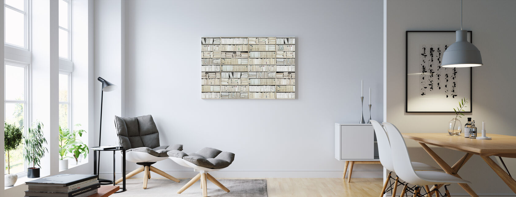 Bookshelf - White - Long - Canvas print - Living Room