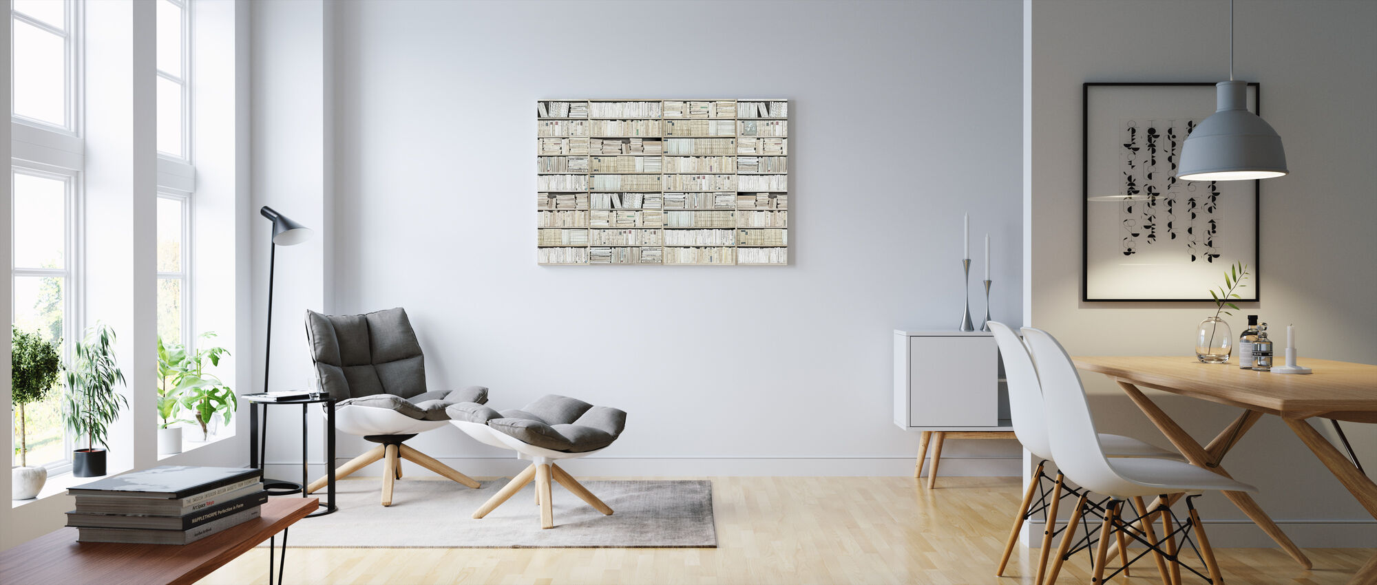 Bookshelf - White - Long - Canvas print - Living Room