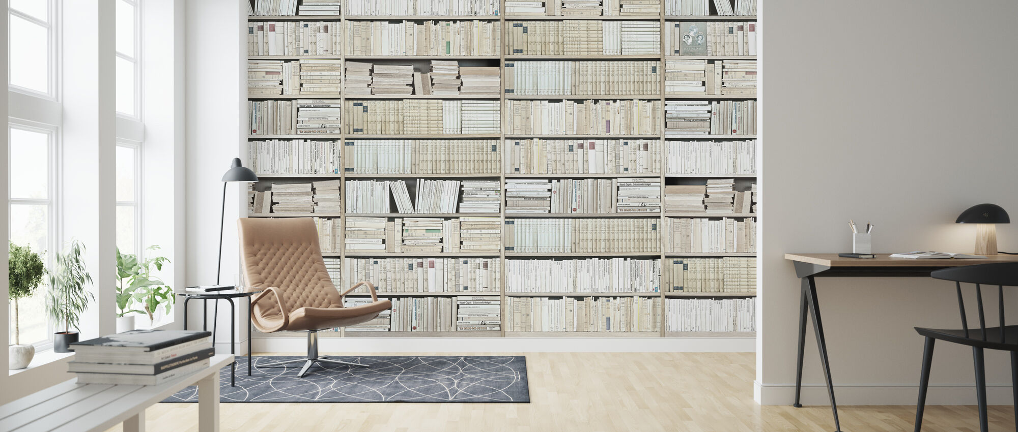 Bookshelf - White - Long - Wallpaper - Living Room