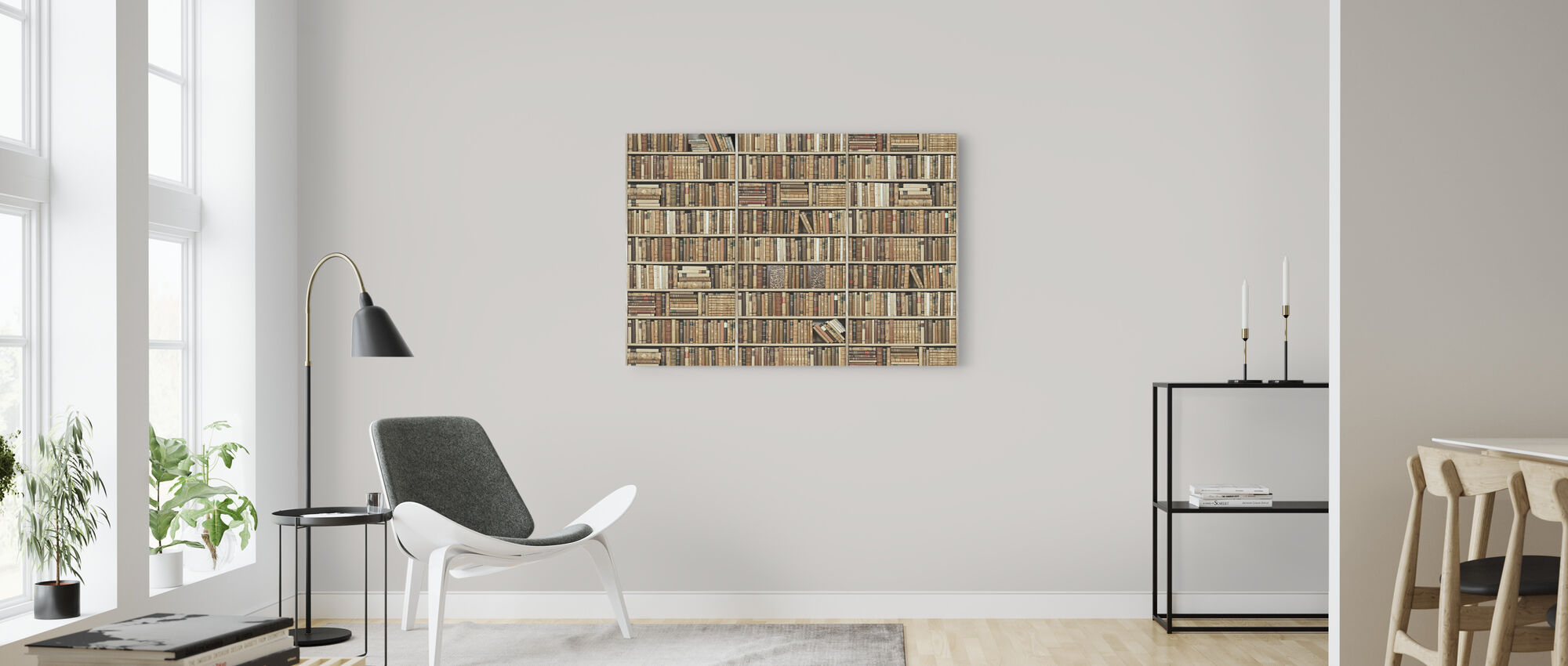 Bookshelf - Wooden - Beige - Canvas print - Living Room