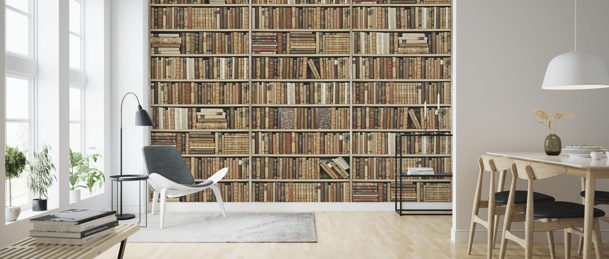 Bookshelf - Wooden - Beige - Wallpaper - Living Room