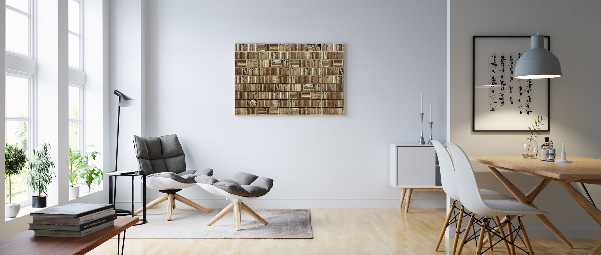 Bookshelf - Wooden - Long - Beige - Canvas print - Living Room