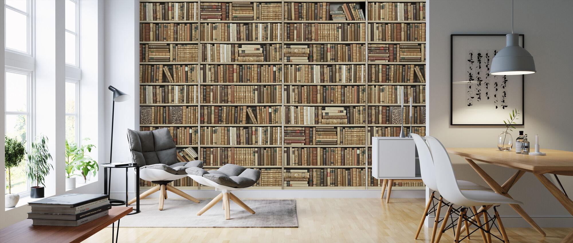 Bookshelf - Wooden - Long - Beige - Wallpaper - Living Room