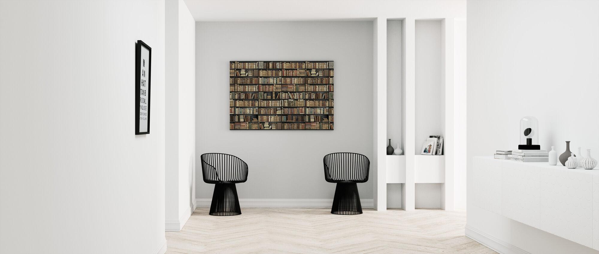 Boekenplank - Zwart - Bruin Lang - Canvas print - Gang