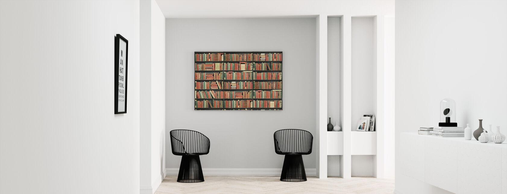Bookshelf - Black - Red Green - Canvas print - Hallway