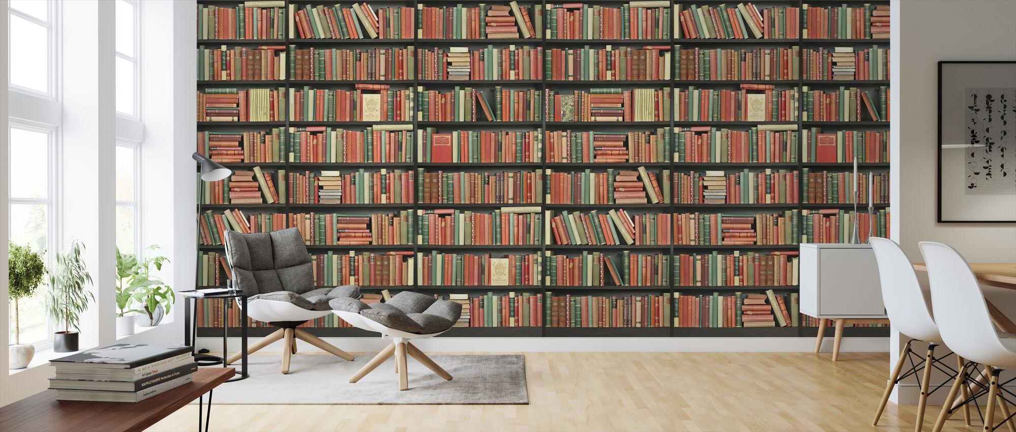 Bookshelf - Black - Red green - Long - Wallpaper - Living Room