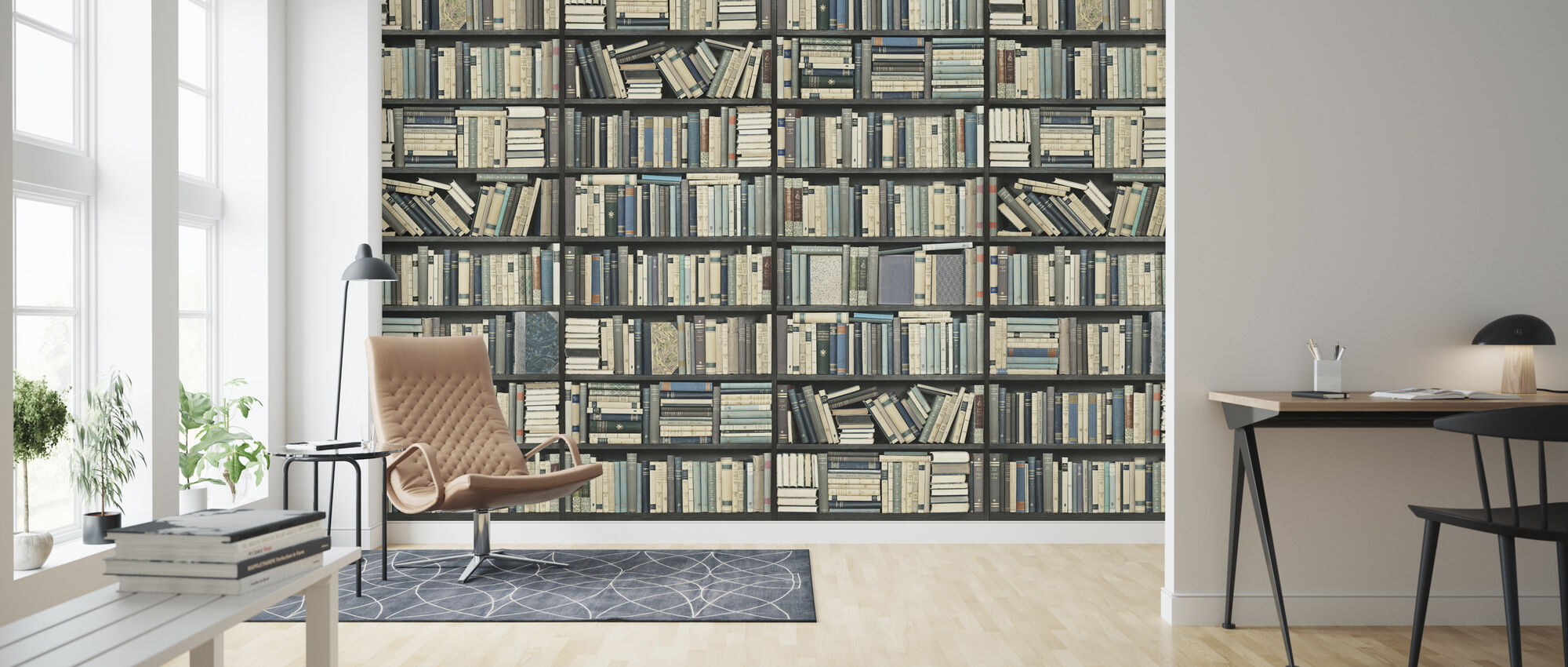 Bookshelf - Black Blue Long - Wallpaper - Living Room