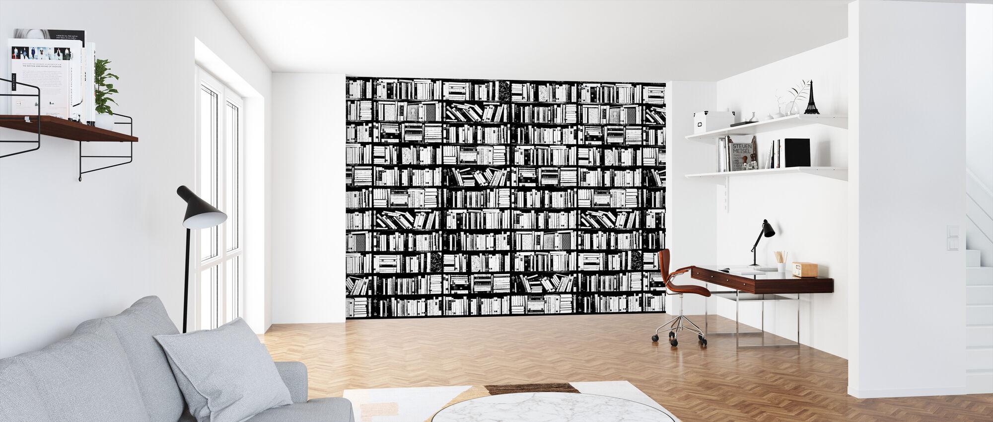 Bookshelf - Graphic Black White - Wallpaper - Office