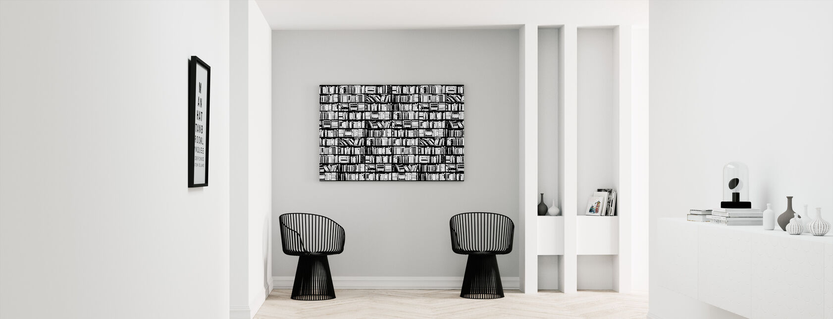 Boekenplank - Grafisch Zwart Wit - Canvas print - Gang