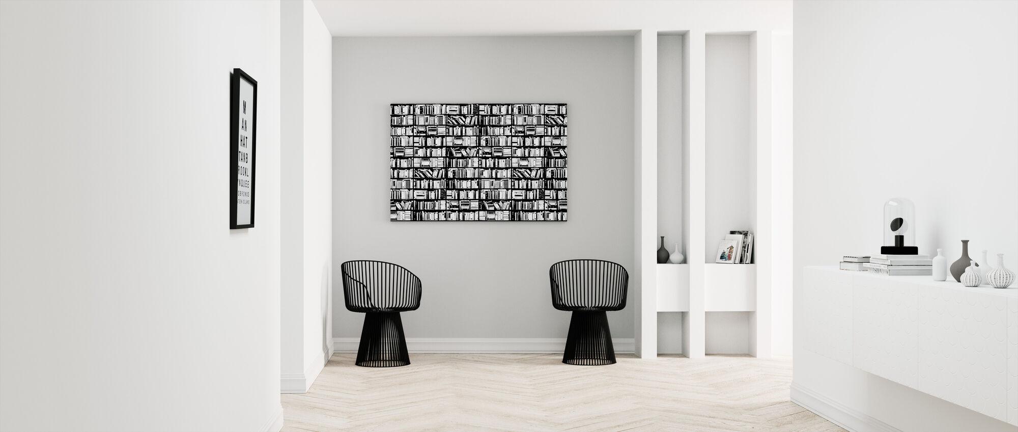 Kirjahylly - Graafinen Musta Valkoinen - Canvastaulu - Aula