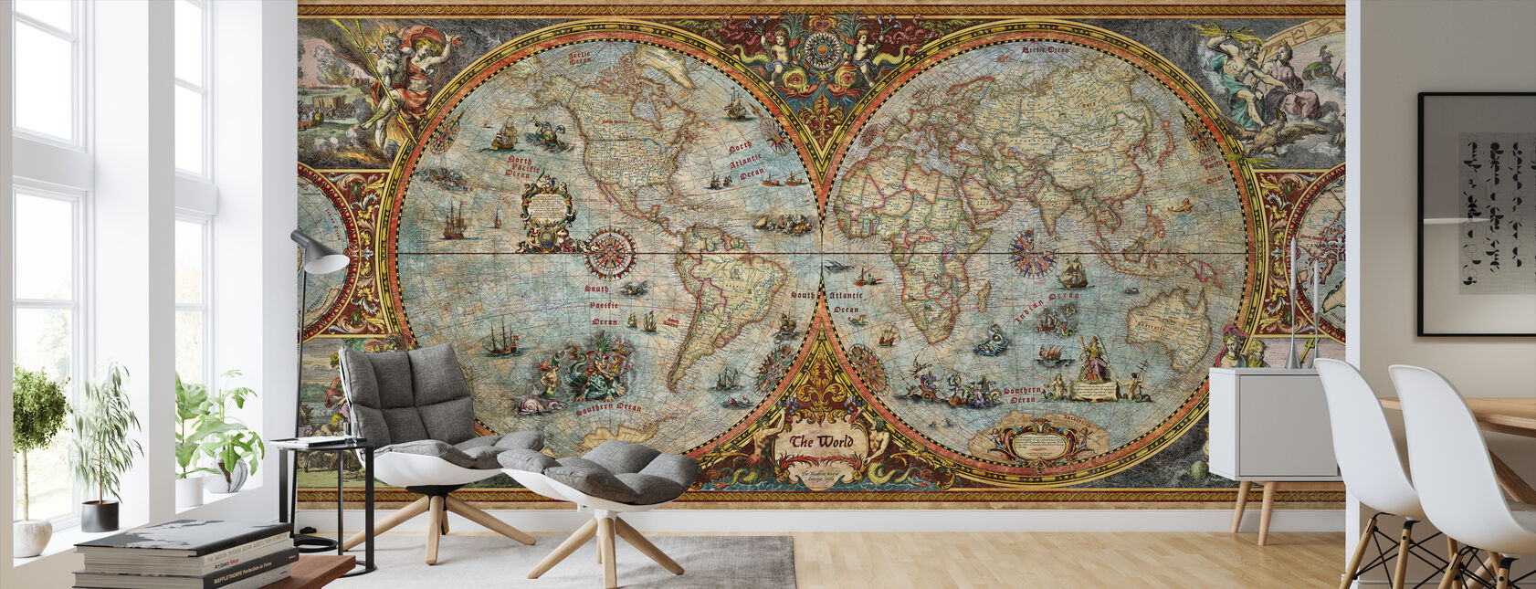 Hemisphere Map - Wallpaper - Living Room