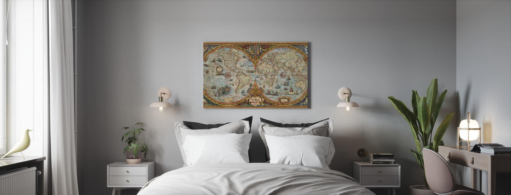 Mapa del hemisferio - Lienzo - Dormitorio