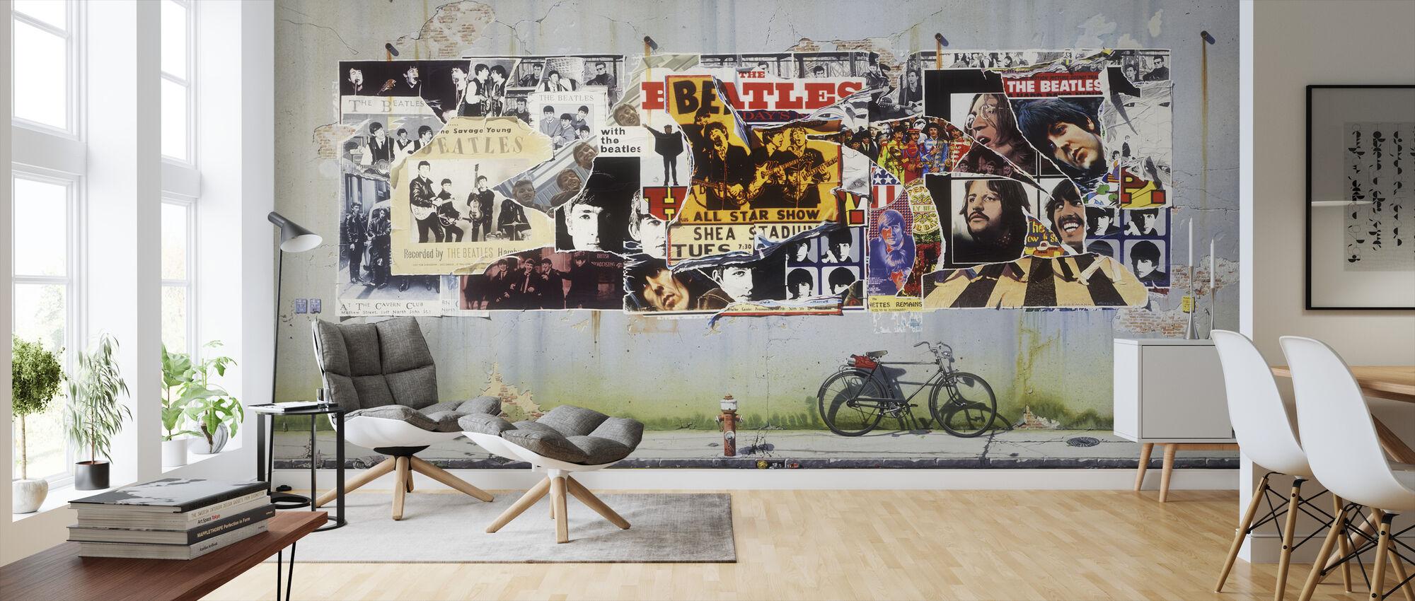Beatles - Plakater på betonvæg - Tapet - Stue