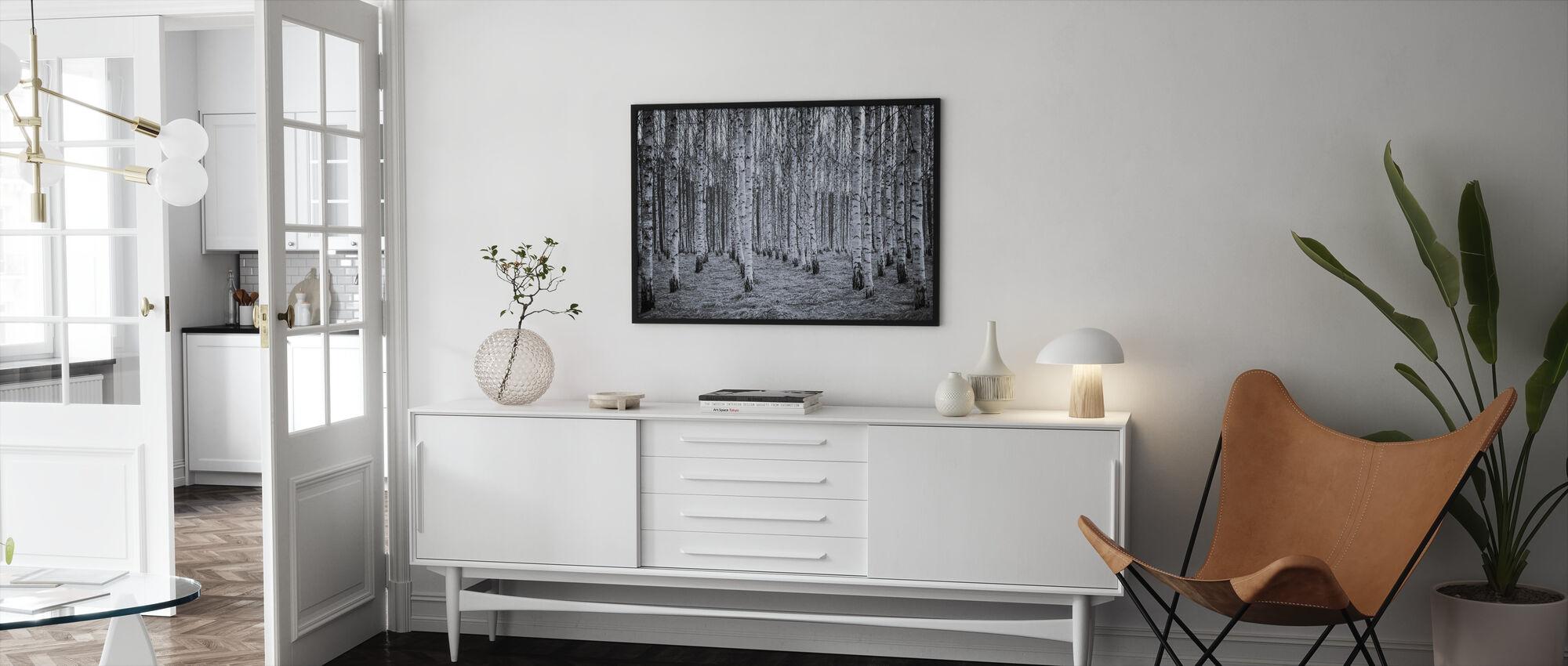 Birch Forest Black & White - Framed print - Living Room