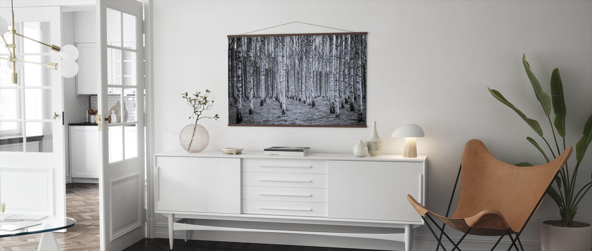 Birch Forest Black & White - Poster - Living Room