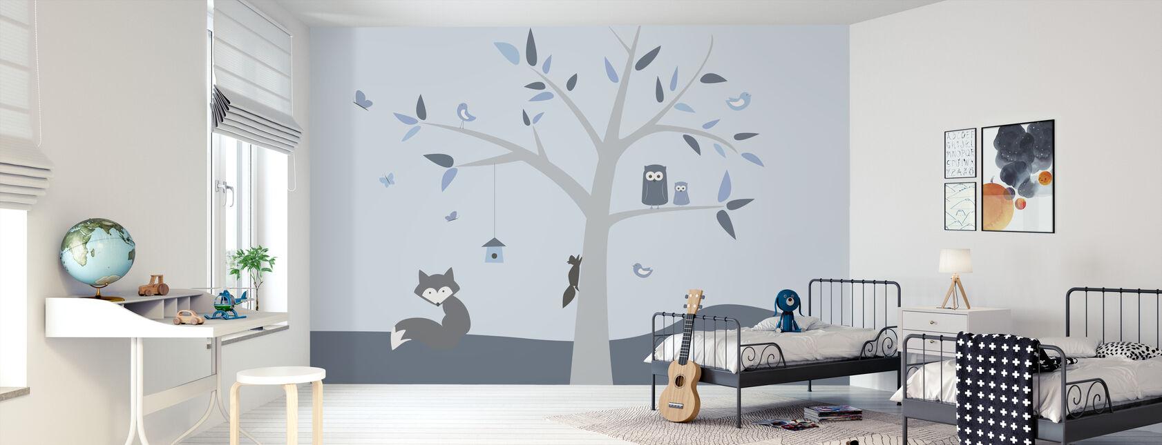 Animal Tree Blue - Wallpaper - Kids Room